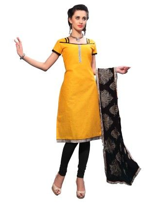 Yellow Exclusive Dress Material With Embroidery Fancy Dupatta - Riti Riwaz