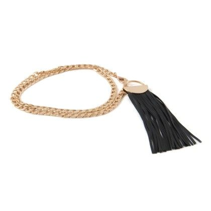 Metal Belt Gold Belt With Round Buckle And Black Strings - Ribbon