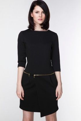 Black Dress With Decorative Zips At The Waist - Ambigante