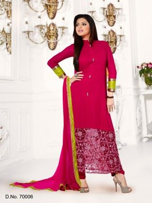 Magenta Georgette Dress Material - Touch Trends Ethnic