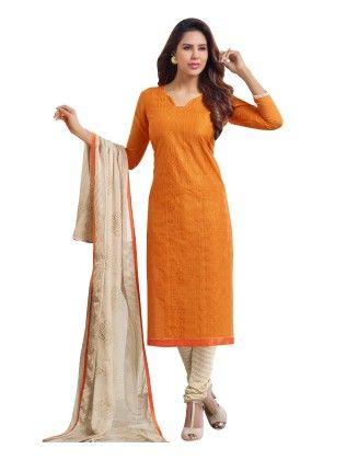 Orange Exclusive Chanderi Printed Dress Material With Matching Dupatta - Riti Riwaz - 243035