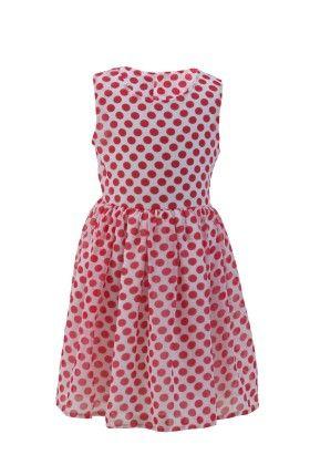 Ivory Red Georgette Polka Dot Dress - Magic Fairy