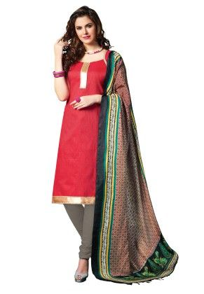 Red Exclusive Dress Material With Bhagalpuri Silk Fancy Dupatta - Riti Riwaz