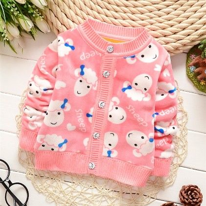 Sheep With Bow Print Sweater - Pink - Mellow