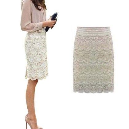 Lace Knee Length Skirt - Violette