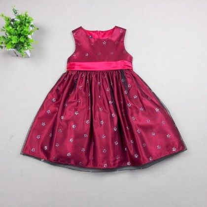 Regal Red Silk Occasion Wear Dress - Cherry Blossoms