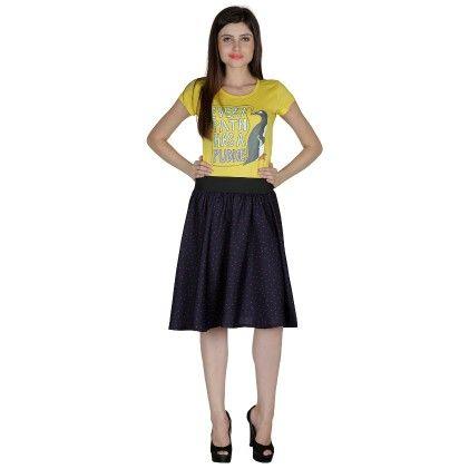 Shopingfever Printed Womens A-line Skirt Blue