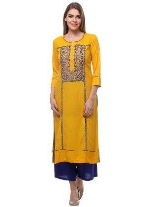 Yellow Kurta With Round Neck Three Quarter Sleeves - Riti Riwaz