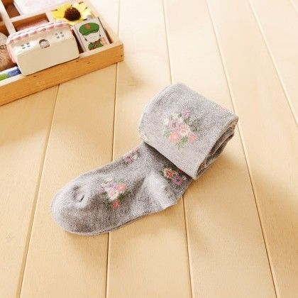 Waist High Stocking Floral - Grey - Cherry Blossoms