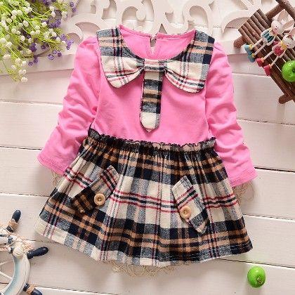 Pretty Pink Checkered Girl Dress - Peach Giirl