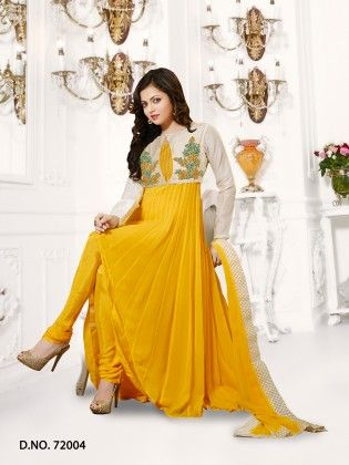 Georgette Dress Material Yellow - Touch Trends Ethnic