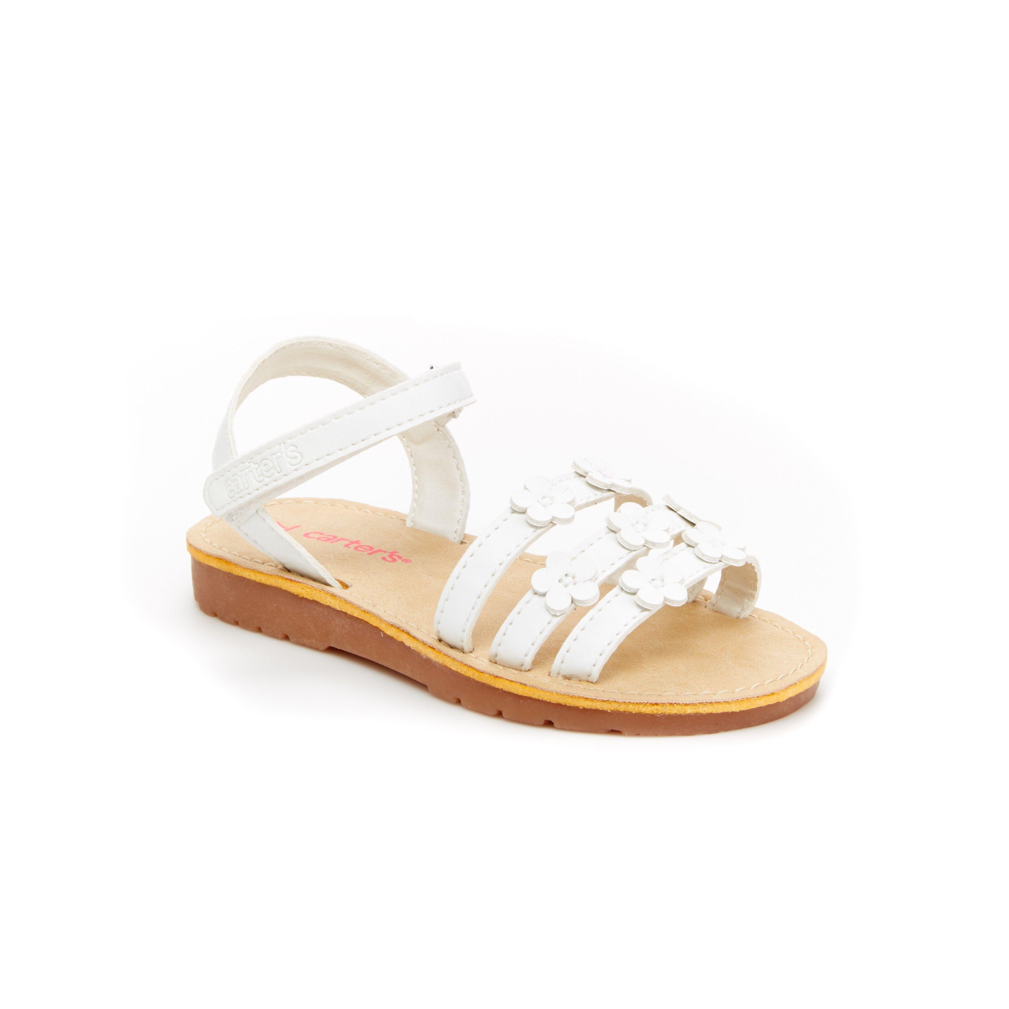 Hopscotch Carters White Sandals With Flower Applique