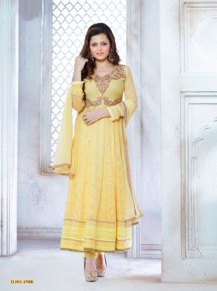 Yellow Georgette Dress Material - Touch Trends Ethnic