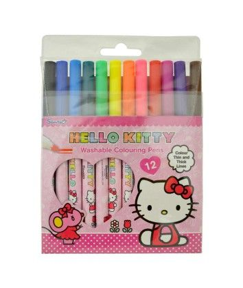 12 Colouring Pens - Hello Kitty