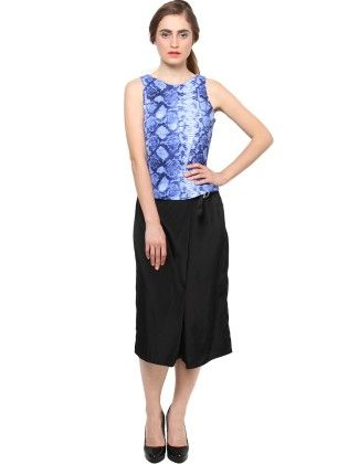 Xny Blue Snake Print Crop Top