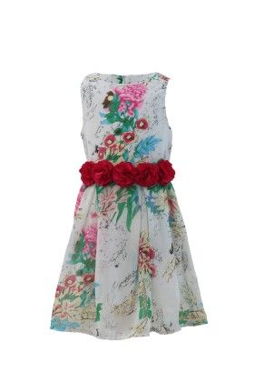 Ivory-pink Georgette Floral Print Dress - Magic Fairy