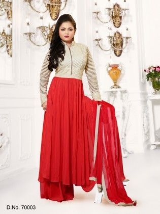 Red Georgette Dress Material - Touch Trends Ethnic