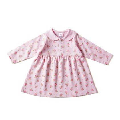 Pink Full Sleeves Floral Print  Collar Neck Frock - ZERO