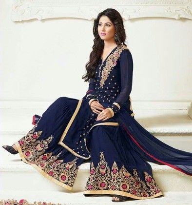Navy Blue Emdroided Semi Stitched Sharara - Navy Blue - Trendy And Style