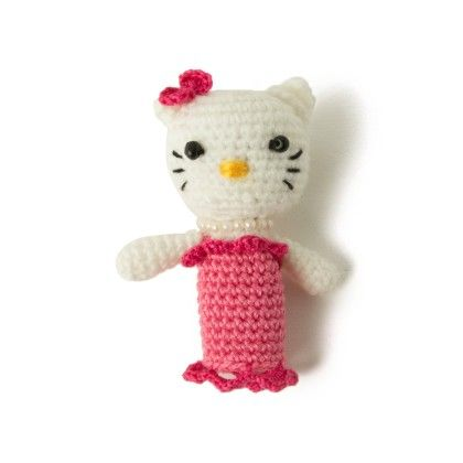 White & Pink Hello Kitty Finger Puppet - Granny's Love