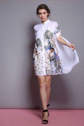 Printed Shirt Dress - Drape In Vogue