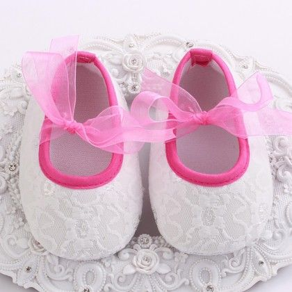 White And Bright Pink Baby Girls Shoe With Lace Design - Angel Closet
