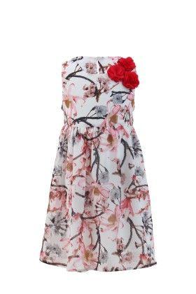 Ivory-peach Georgette Floral Printed Dress - Magic Fairy