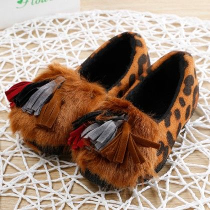 Brown Fur Shoes With Tassels - Oh Pair