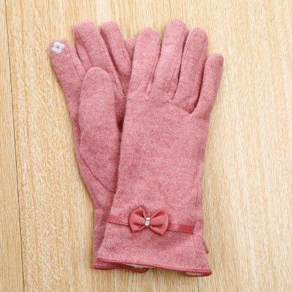 Classy Studded Bow Applique Gloves - Pink - Glaze