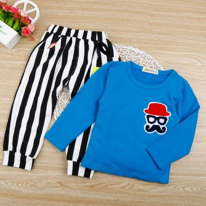 Blue Tee With Striped Pants - 2 Pcs Set - Chirpy Frost