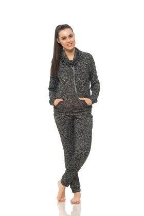 Womens Long Sleeve Cowl Neck Sweatshirt Black - S2 Sportswear