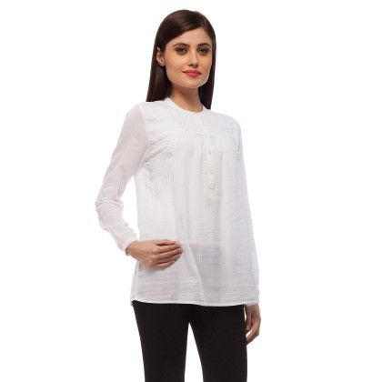 White Embroidered Cotton Top - StyleStone