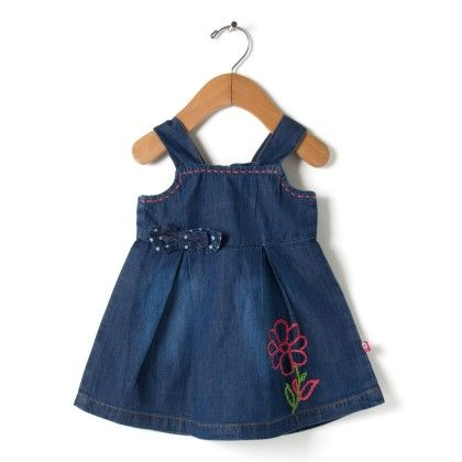 Stylish Denim Dress With Dotted Double Bow - Navy - O'Carina