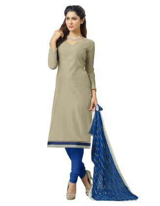 Unstitched Dress Material Grey & Blue - Riti Riwaz
