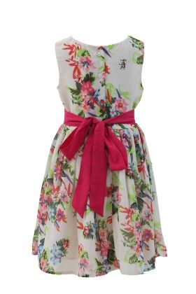 Ivory-pink Georgette Floral Printed Dress - Magic Fairy