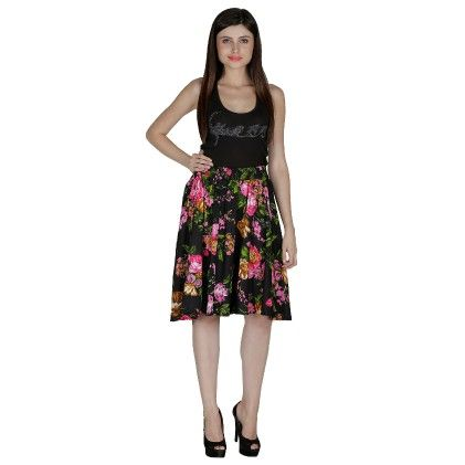 Shopingfever Floral Print Womens A-line Skirt Multi