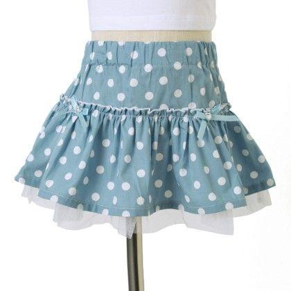Light Blue Cotton Skirt, Pokka Dot - L.blue - Primme Girl