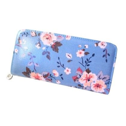Floral Print Dark Blue Zipper Wallet - Violette