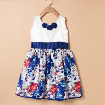 Blue Printed Dress Over Cream With Blue Belt - Winakki Kids
