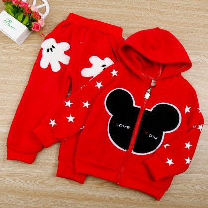 Cartoon Print Red Hoodie And Pant - 2 Pcs Set - Chirpy Frost