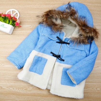 Blue And White Jacket With Fur - Maisie