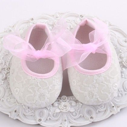 White And Pink Baby Girls Shoe With Lace Design - Angel Closet
