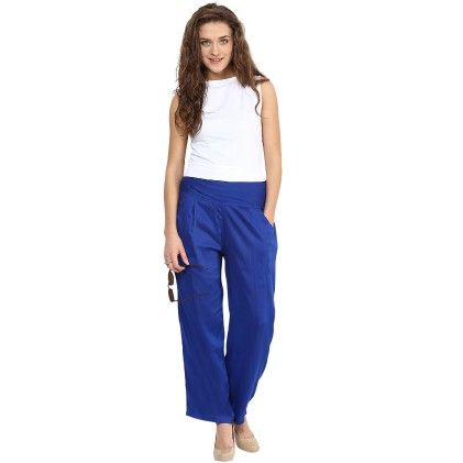 Shopingfever Royal Blue Trouser With Side Zipper