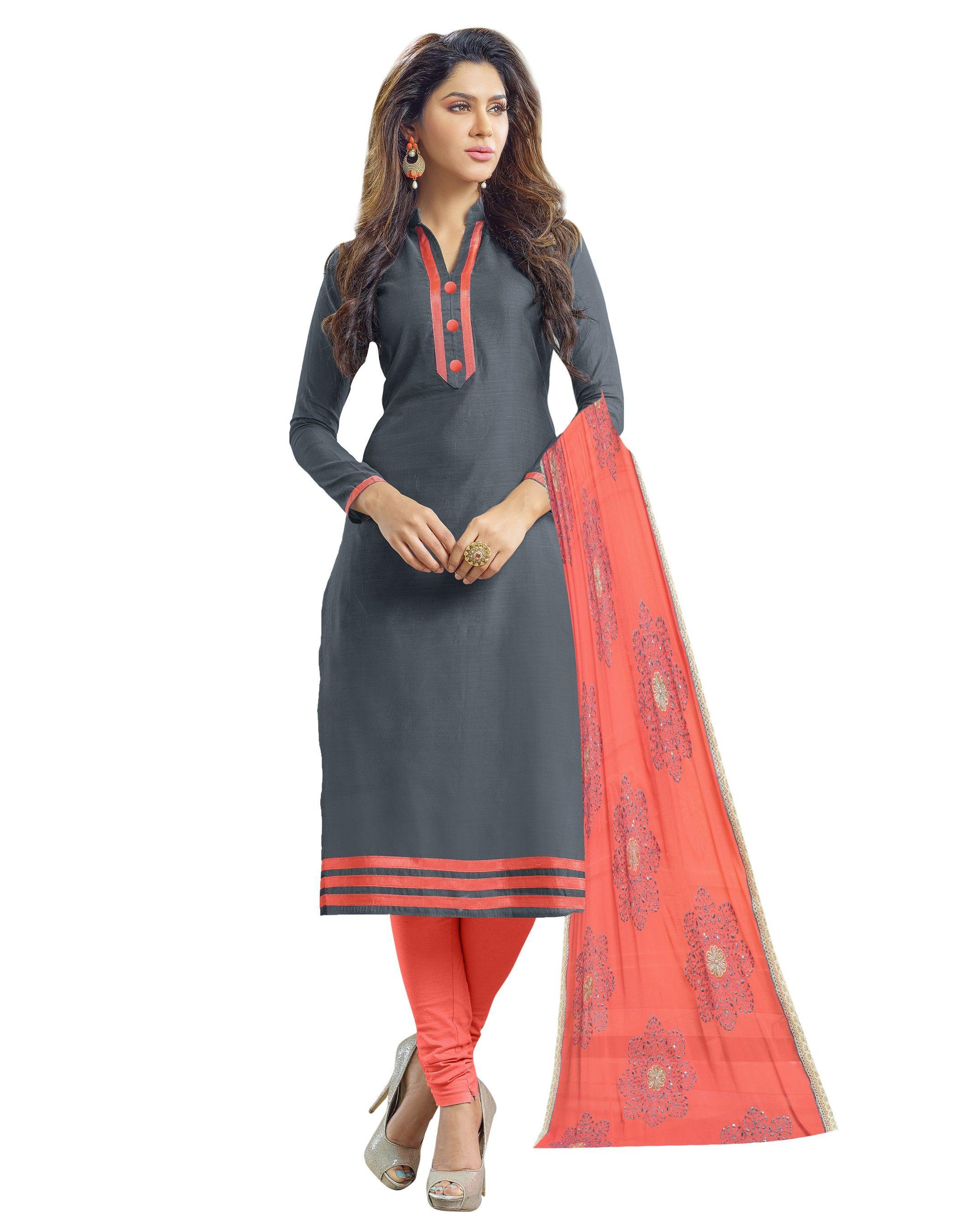 Unstitched Dress Material Rose Pink & Grey - Riti Riwaz