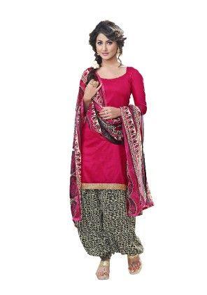 Pink Exclusive Cotton Satin Printed Dress Material With Matching Dupatta 1 - Riti Riwaz