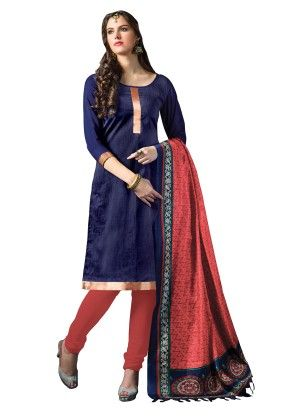 Navy Blue Exclusive Dress Material With Bhagalpuri Silk Fancy Dupatta - Riti Riwaz