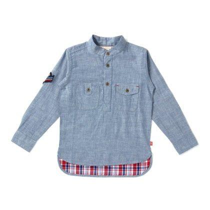 Mandarin Collar Boys Shirt In Light Blue - Aomi By Appleofmyi