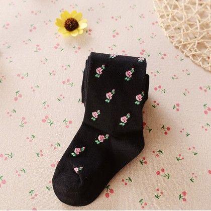 Waist High Stocking Flower Print - Black - Cherry Blossoms