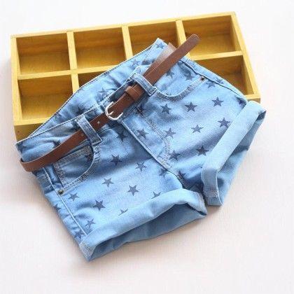 Star Print Denim Shorts - Mauve Collection