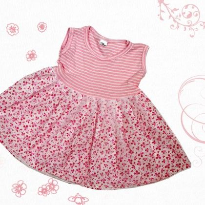 Pink Stripes Top With Cotton Frock And Trosers - TINY TODDLER